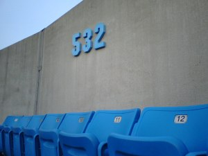 Our Section and the Wall, One Row Behind Us