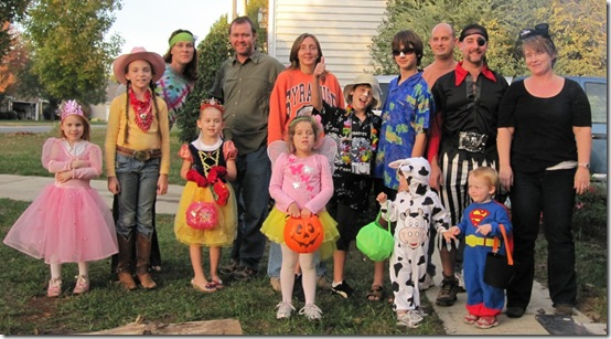 The trick-or-treating crew
